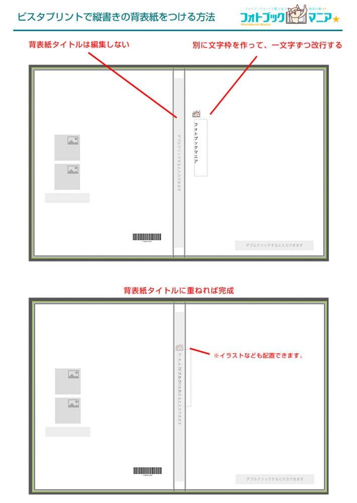 ビスタプリントで縦書きの背表紙タイトルをつける方法図解