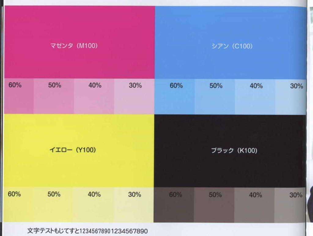 フォトジュエル S  CMYKで発色・色味の比較(光沢紙)