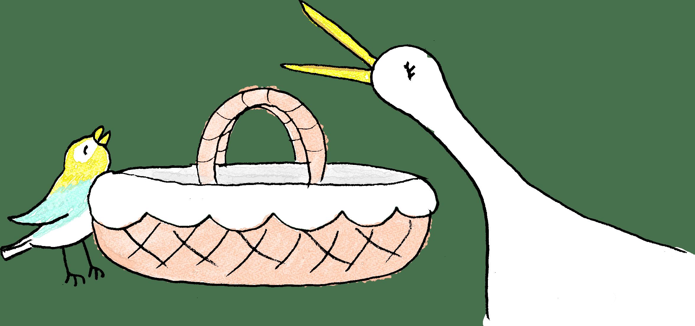 赤ちゃん・子供・出産のフォトブックスタンプ素材:鳥・カゴ・クーハン