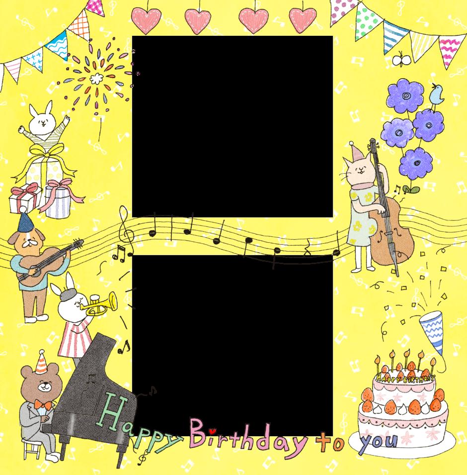 誕生日のフォトブックテンプレート ビスタプリント スクエアサイズ