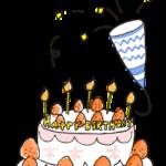 誕生日のフォトブックスタンプ素材:バースデーケーキ・クラッカー・お祝い
