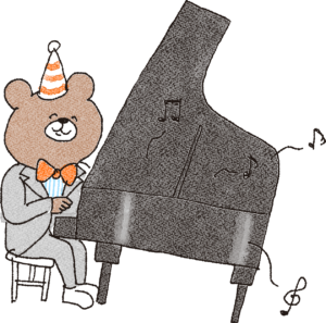 誕生日のフォトブックスタンプ素材:ピアノ・演奏・音楽・熊・発表会