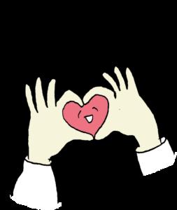 彼氏彼女・カップルのフォトブックスタンプ素材:I LOVE YOU・ハート・手