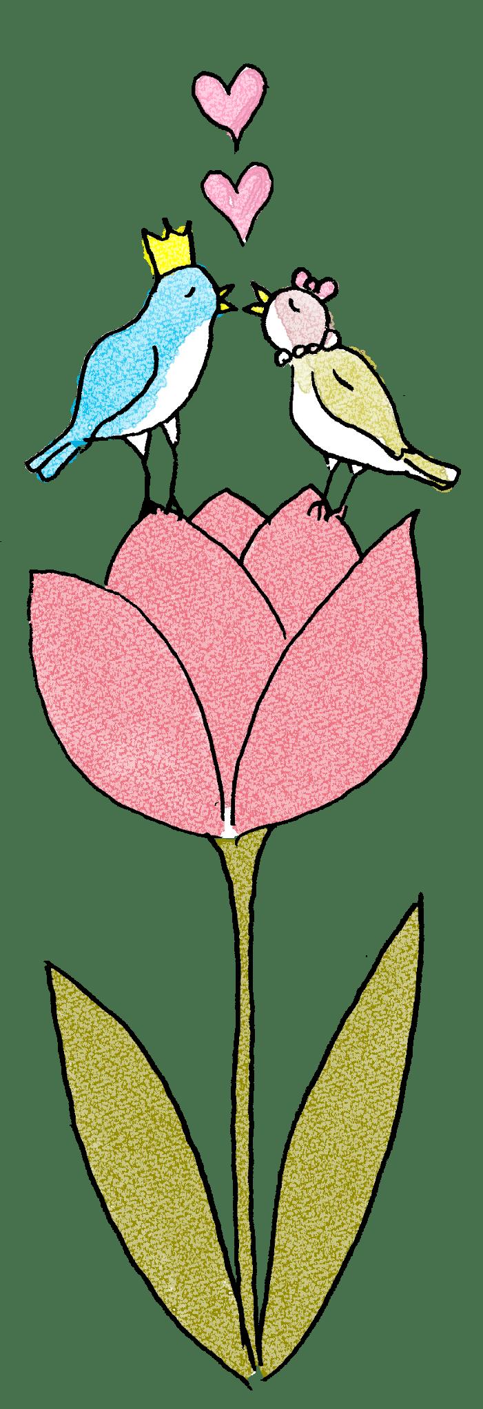 彼氏彼女・カップルのフォトブックスタンプ素材:キス・小鳥・ハート・ちゅうりっぷ・花・ラブラブ・王子と姫