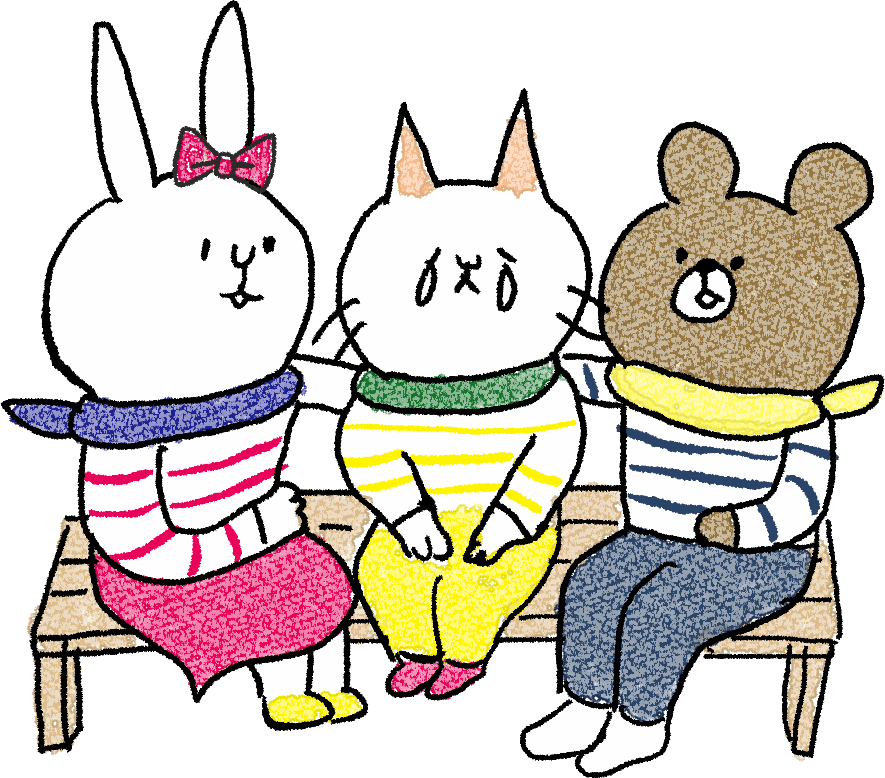 友達のフォトブックスタンプ素材:ベンチ・肩組み・猫・熊・うさぎ・泣く・慰める