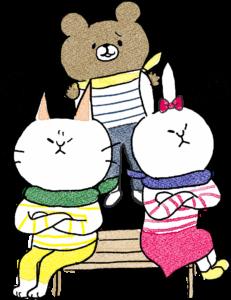 友達のフォトブックスタンプ素材:喧嘩・なだめる・猫・熊・うさぎ
