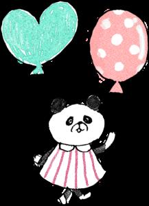 子供のフォトブックスタンプ素材:パンダ・風船