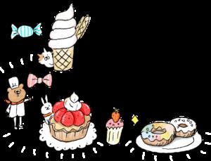 子供のフォトブックスタンプ素材:ケーキ・ソフトクリーム・ドーナツ・飴・キャンディ・リボン・パティシエ・スイーツ・デザート