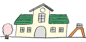 卒園式のフォトブックスタンプ素材:幼稚園・滑り台・桜の木