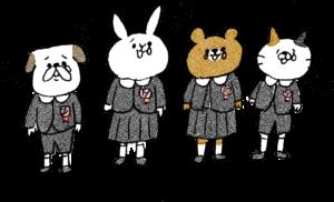 卒園式のフォトブックスタンプ素材:歌・園歌・卒園式・泣く・歌う・猫・うさぎ・熊・犬