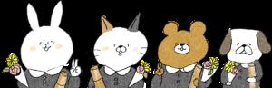 卒園式のフォトブックスタンプ素材:卒園証書・卒園・猫・うさぎ・熊・犬