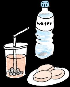 旅行のフォトブックスタンプ素材:ペットボトル・水・ミネラルウォーター・タピオカドリンク・クッキー・食事