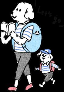旅行のフォトブックスタンプ素材:親子・リュックサック・お出かけ・ピクニック・探検