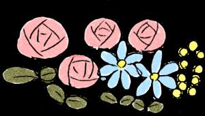 旅行のフォトブックスタンプ素材:花・バラ・黄色い花・青い花
