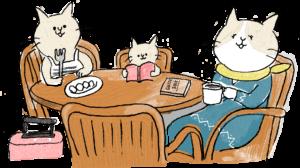 旅行のフォトブックスタンプ素材:家族・レストラン・カフェ・食事・読書・猫