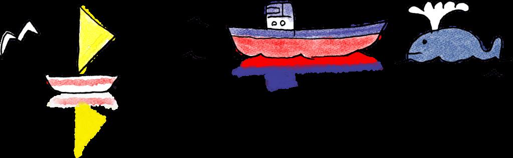 夏休みのフォトブックスタンプ素材:ヨット・船・海・くじら
