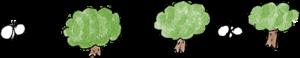 夏休みのフォトブックスタンプ素材:蝶々・木