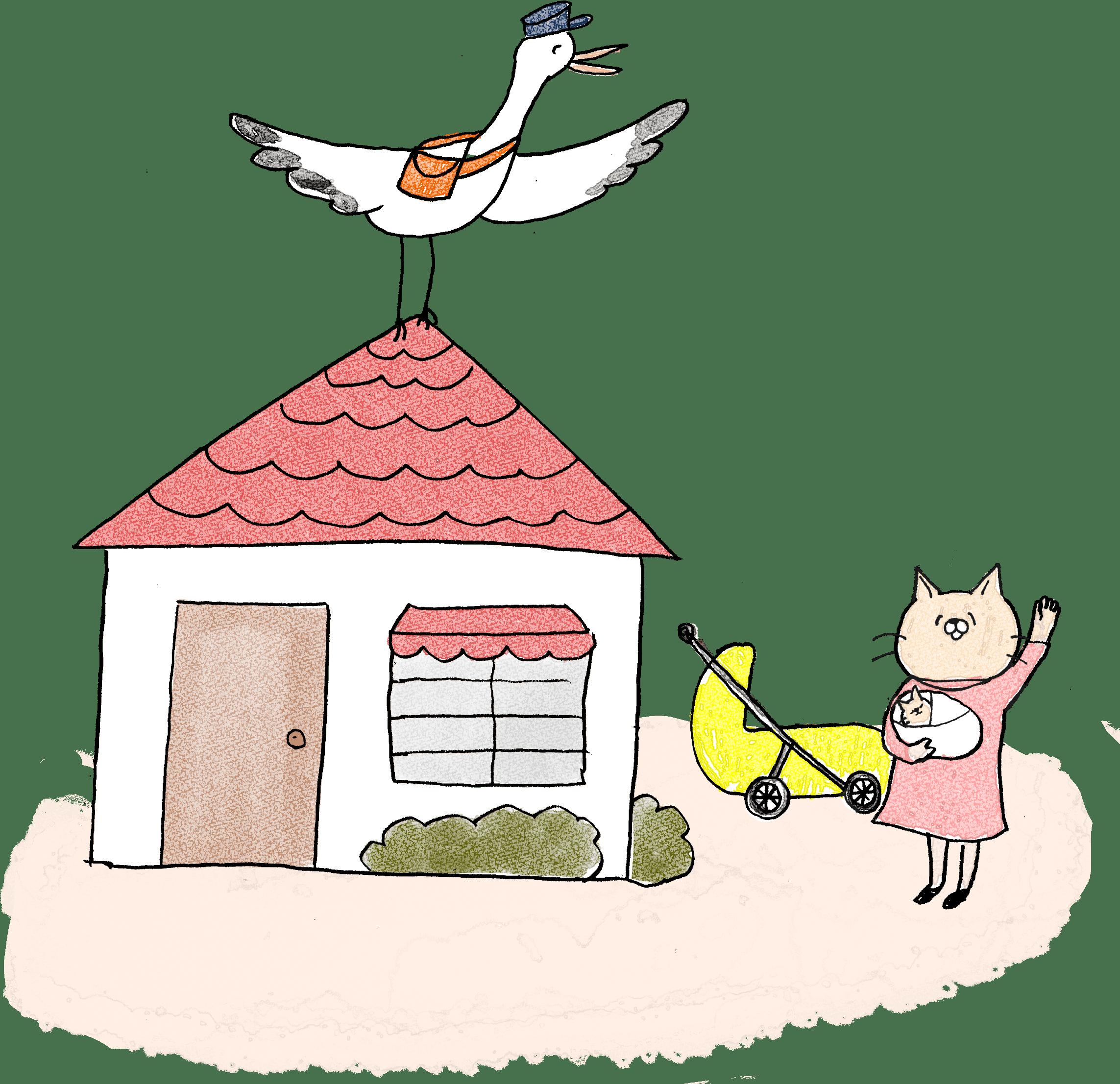 赤ちゃん・出産のフォトブックスタンプ素材:こうのとり・家・出産・赤ちゃん・ベビーカー