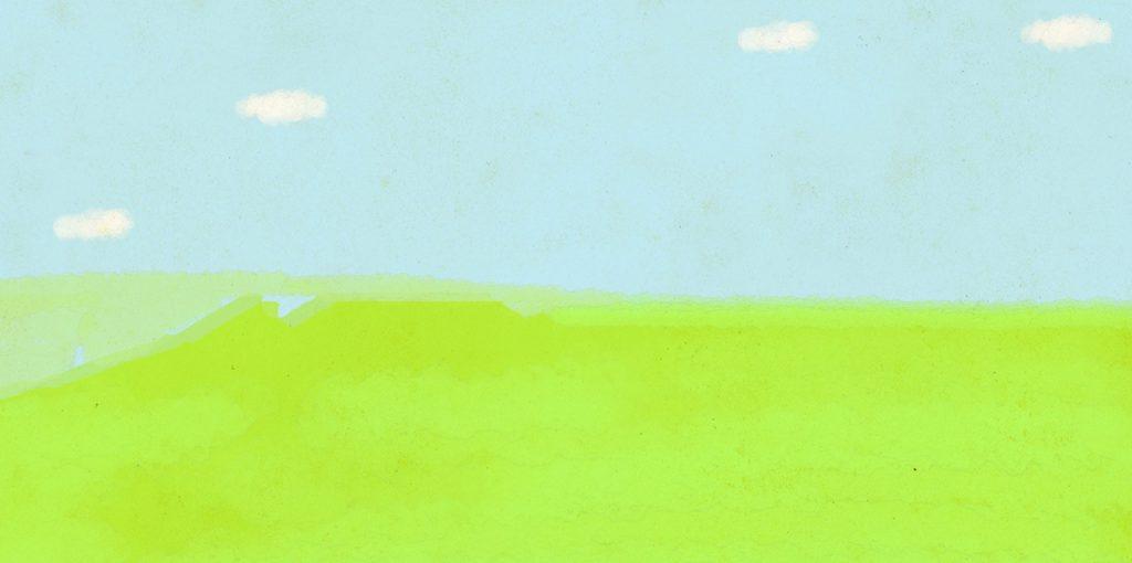 赤ちゃん・出産のフォトブックスタンプ素材:背景・草原・空