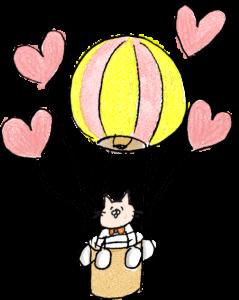 赤ちゃん・出産のフォトブックスタンプ素材:気球・ハート