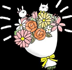 花束:誕生日のフォトブックスタンプ素材