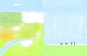 子供(男の子向け)のフォトブックスタンプ素材:背景・空・芝生・川