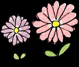 ピンクの花・紫の花:子供(女の子向け)のフォトブックスタンプ素材