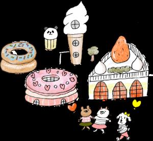 ケーキ・ソフトクリーム・ドーナツ・スイーツ・テーマパーク:子供(女の子向け)のフォトブックスタンプ素材