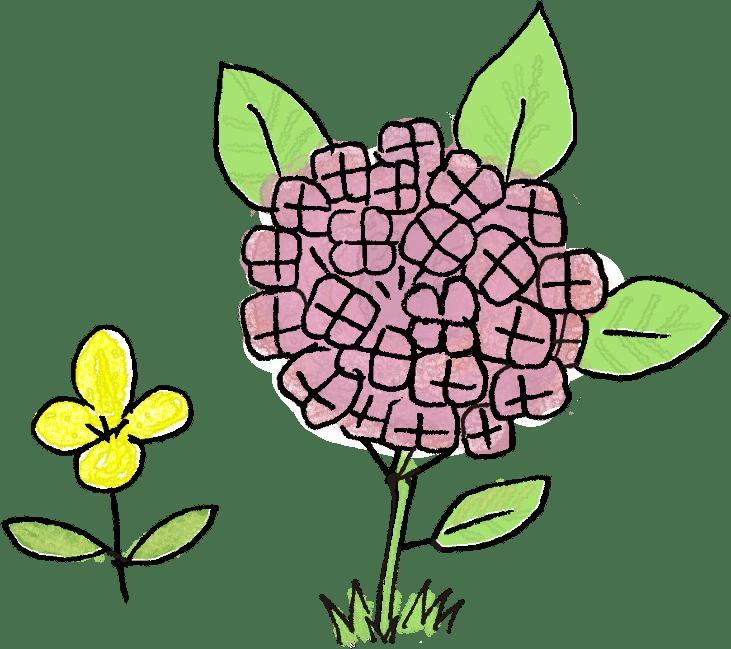 紫陽花・黄色い花:子供(女の子向け)のフォトブックスタンプ素材