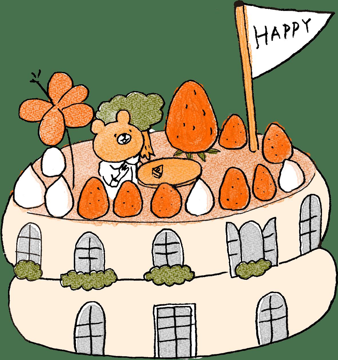 ケーキ・HAPPY・家・スイーツ・テーマパーク:子供(女の子向け)のフォトブックスタンプ素材