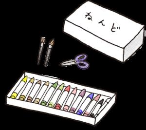 粘土・はさみ・筆・クレヨン:卒園アルバムのフォトブックスタンプ素材