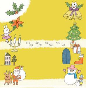 クリスマスのフォトブックテンプレート ビスタプリント スクエアサイズ(背景用 / スマホで使用可能)