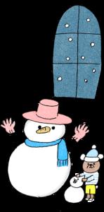 雪だるま・窓:クリスマスのフォトブックスタンプ素材