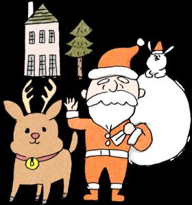 サンタクロース・トナカイ:クリスマスのフォトブックスタンプ素材