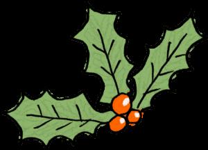 柊:クリスマスのフォトブックスタンプ素材