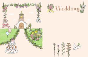 結婚式・ウエディングのフォトブックテンプレート ビスタプリント 縦長サイズ(表紙の背景用 / スマホで使用可能)