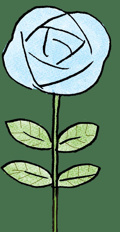 薔薇・青:父の日のスタンプ素材