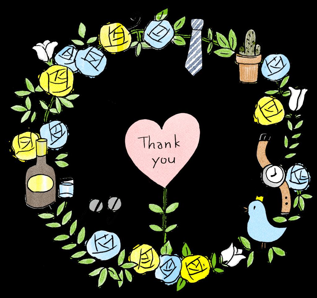thankyou・鳥・リース・花・薔薇・ネクタイ・お酒・腕時計・サボテン・メガネ:父の日のスタンプ素材