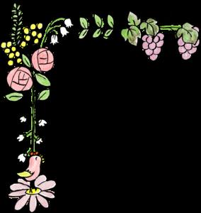 草・花・枠(左):結婚式・ウエディングのスタンプ素材
