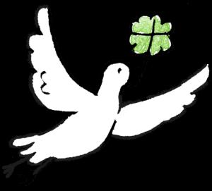 鳥・鳩・四葉のクローバー:結婚式・ウエディングのスタンプ素材