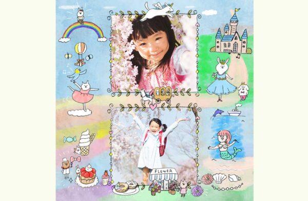 子供の無料フォトブックテンプレート(女の子向け)&装飾スタンプ素材!