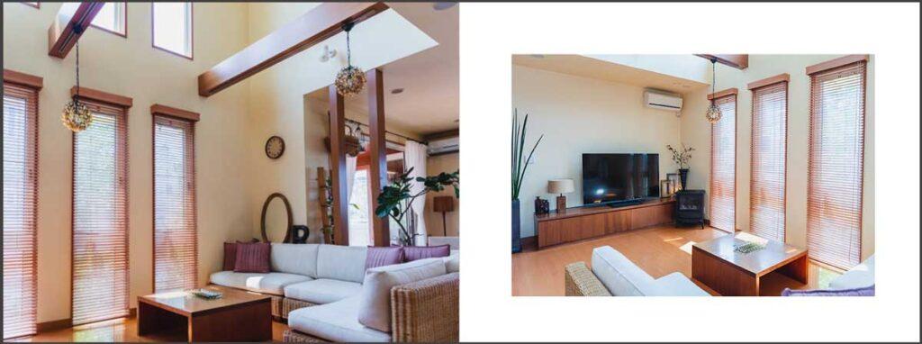 左を全面写真にして、右の写真は余白をとったレイアウト
