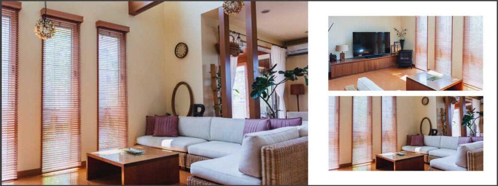 左を全面写真にし、中央を超えて右側まで大きくレイアウト。右の写真は余白をとったて2枚ならべる