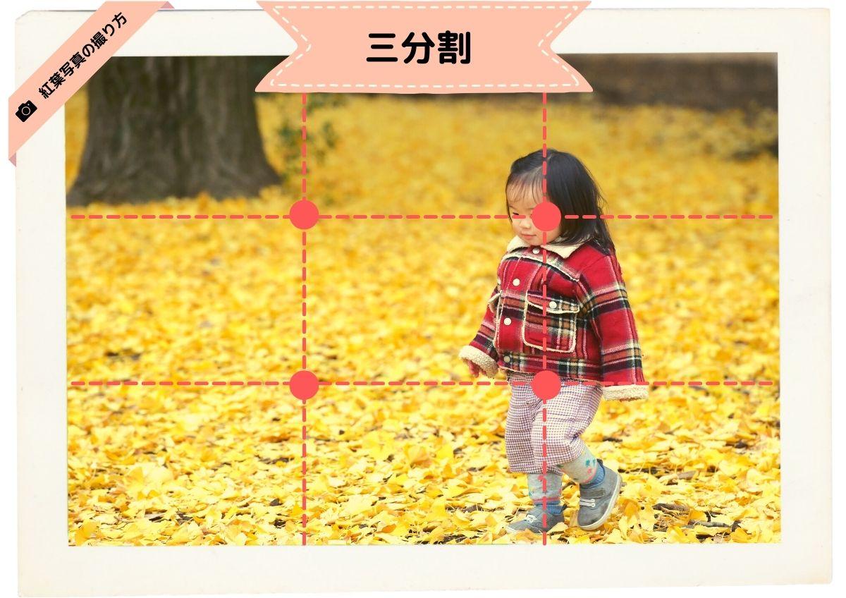 三分割構図:紅葉と子供